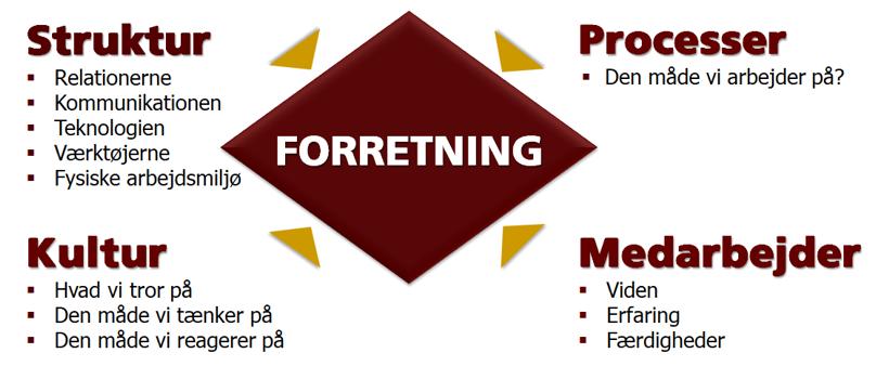 De fire organisations elementer
